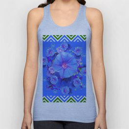 Baby Blue Morning Glories Green Floral Art Unisex Tank Top