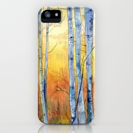 Birch Trees at Sunset iPhone Case