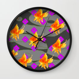 Decorative Gold Fish Modern Grey  Abstract Wall Clock