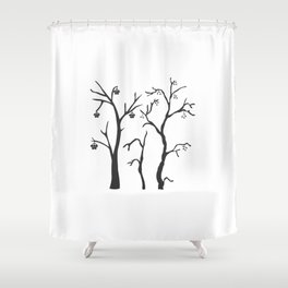 Silhouette of a rowan tree with berries Shower Curtain