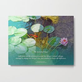 Serenity Prayer Koi Pond Lotus Metal Print