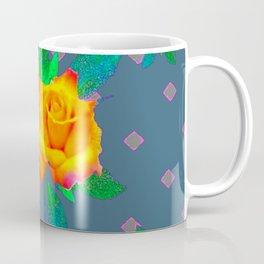Teal Color Golden Roses Bouquet Patterns Coffee Mug