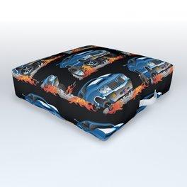 Classic Seventies American Muscle Car Hot Rod Cartoon Illustration Outdoor Floor Cushion