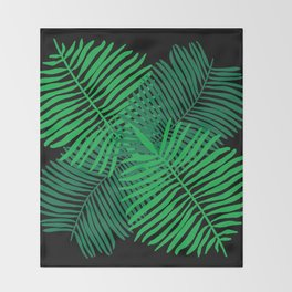 Modern Tropical Palm Leaves Painting black background Throw Blanket