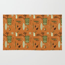 Orange Retro Hawaiian Tiki Hawaii Beach Rug