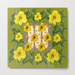 GREEN YELLOW AMARYLLIS FLOWERS BUTTERFLY FLORAL Metal Print