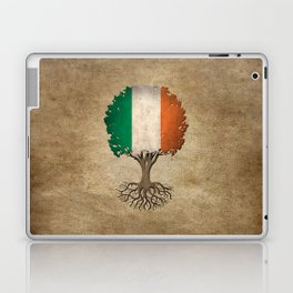 Vintage Tree of Life with Flag of Ireland Laptop & iPad Skin