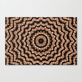 Kaleidoscope Beige Circular Pattern on Black Canvas Print