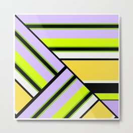 Striped , multi-colored , asymmetric combination pattern . Patchwork . Metal Print