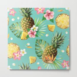 Kitschy Tropical Fruit Print Metal Print