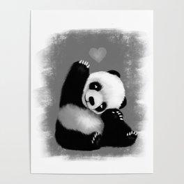 Panda Love (Monochrome) Poster
