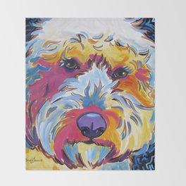 Goldendoodle or Labradoodle Pop Art Dog Portrait Throw Blanket