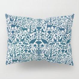 Folk Art Pattern Blue Teal on Gray Pillow Sham