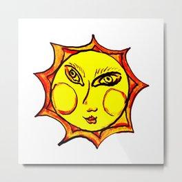 Yellow Sun Mandala Metal Print