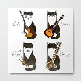 Four cats with guitars for music fans Metal Print