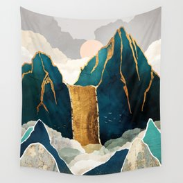 Golden Waterfall Wall Tapestry