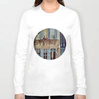 jewish Long Sleeve T-shirts featuring Blue Shutters in the Sun by Brown Eyed Lady