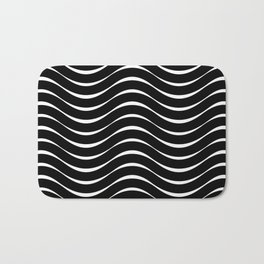 Vector Black and White Thick Wavy Lines Pattern Bath Mat