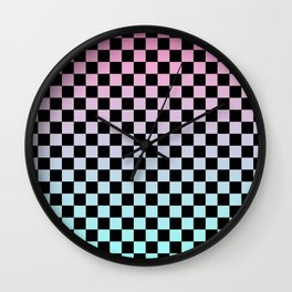 Pink and Blue Gradient Checkers Wall Clock
