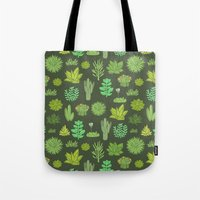 succulents Tote Bags featuring Succulents by Anna Alekseeva kostolom3000