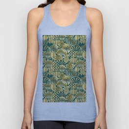 Chinese Symbols in Gold and Emerald Jade Green Unisex Tank Top