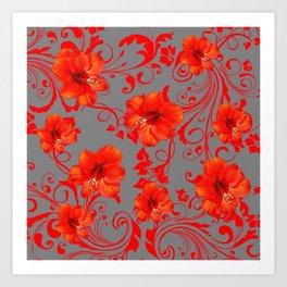 ORANGE-RED AMARYLLIS BROCADE FLORAL GREY ART Art Print