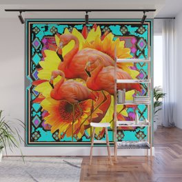 TRIPLE PINK FLORIDA FLAMINGS YELLOW-TURQUOISE BABSTRACT ART DESIGN Wall Mural