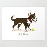 bull terrier Art Prints featuring Bull Terrier by Monica McClain