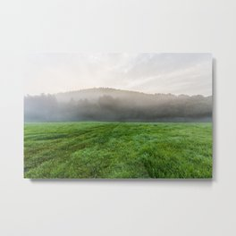 Morning mist over the fields Metal Print