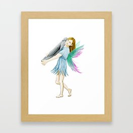 White Birch Tree Fairy Carrying Bark Framed Art Print