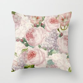 Vintage Roses and Lilacs Pattern - Smelling Dreams Throw Pillow
