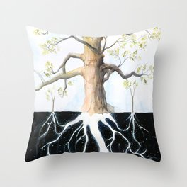 Underneath, Mother Tree and Seedlings, Surreal Illustration Throw Pillow
