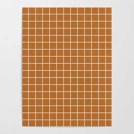 Liver (dogs) - brown color - White Lines Grid Pattern Poster