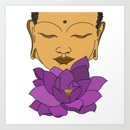 Buddha with a lotus Art Print