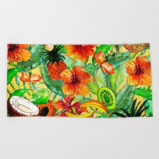 My tropical Summer Hibiscus and Fruits Garden- Jungle Pattern on #Society6 Beach Towel