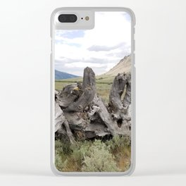 Wilderness Wood Sculpture Clear iPhone Case