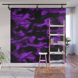Moody Purple Fog All Over Painting Texture with Streaky Light Leaks. Trendy Abstract Dark Mood Wall Mural