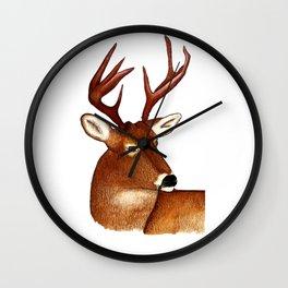 Big Buck Deer Watercolor and Color Pencil Design Wall Clock