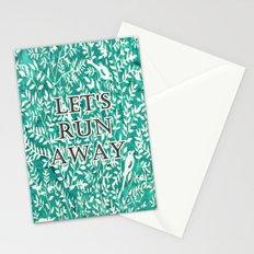 Wonderlust Τurquoise#Birds let's run away Stationery Cards