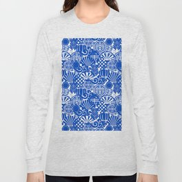 Chinese Symbols in Blue Porcelain Long Sleeve T-shirt