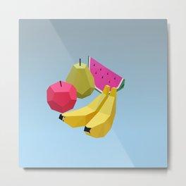 illustrations fruit watermelon bananas pear food Metal Print