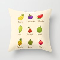 thailand Throw Pillows featuring Fruit Thailand by paradon samapetch