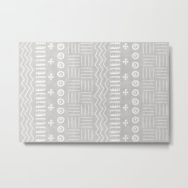 Funky African Mud Cloth in Grey Metal Print