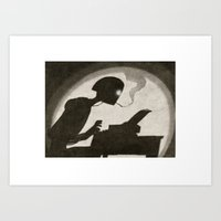 writer Art Prints featuring Robot Writer by Oliver Raw