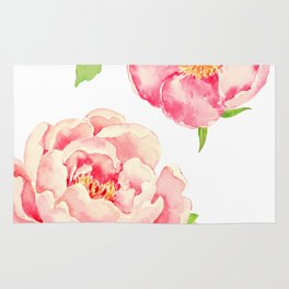 Two Pink Peonies on White Rug