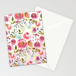 blush pink peonies watercolor fuchsia flowers Stationery Cards