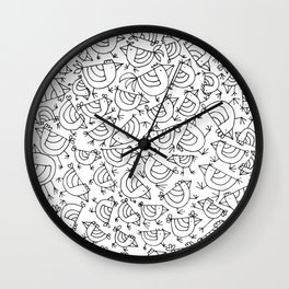 Linear Cute Little Roosters Pattern Edit Wall Clock