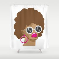 afro Shower Curtains featuring Afro by Zenga N