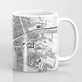 Vintage Map of Dublin Ireland (1797) BW Coffee Mug