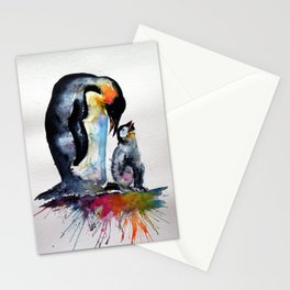 Penguin with baby Stationery Cards